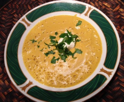 Sprouted chickpea and Pumpkin soup