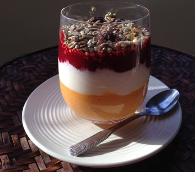 Fruit compote with muesli